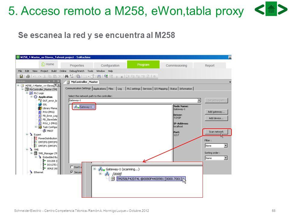 56Schneider Electric - Centro Competencia Técnica- Ramón A. Hormigo Luque – Octubre.2012 Se escanea la red y se encuentra al M258 5. Acceso remoto a M