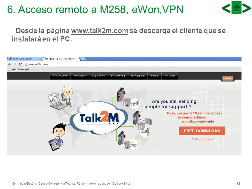 59Schneider Electric - Centro Competencia Técnica- Ramón A. Hormigo Luque – Octubre.2012 6. Acceso remoto a M258, eWon,VPN Desde la página www.talk2m.