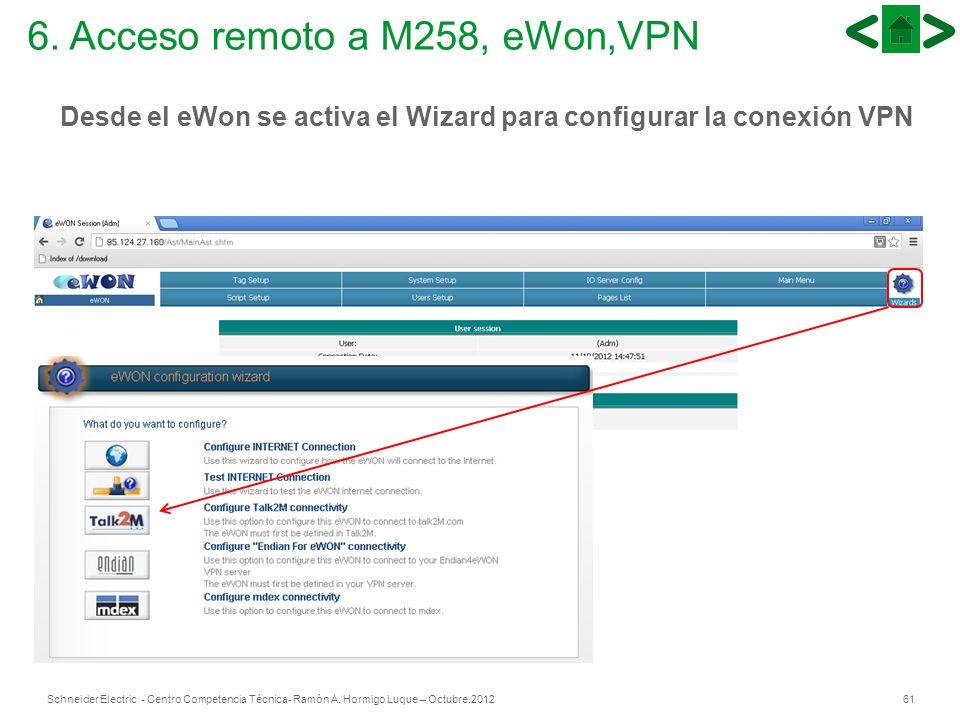 61Schneider Electric - Centro Competencia Técnica- Ramón A. Hormigo Luque – Octubre.2012 6. Acceso remoto a M258, eWon,VPN Desde el eWon se activa el