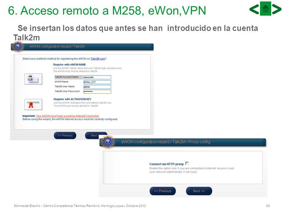 63Schneider Electric - Centro Competencia Técnica- Ramón A. Hormigo Luque – Octubre.2012 6. Acceso remoto a M258, eWon,VPN Se insertan los datos que a