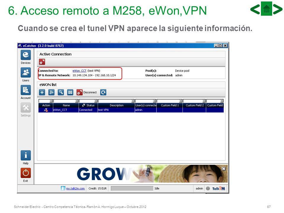 67Schneider Electric - Centro Competencia Técnica- Ramón A. Hormigo Luque – Octubre.2012 6. Acceso remoto a M258, eWon,VPN Cuando se crea el tunel VPN