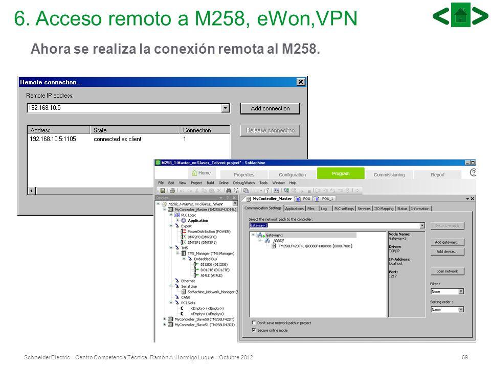 69Schneider Electric - Centro Competencia Técnica- Ramón A. Hormigo Luque – Octubre.2012 6. Acceso remoto a M258, eWon,VPN Ahora se realiza la conexió
