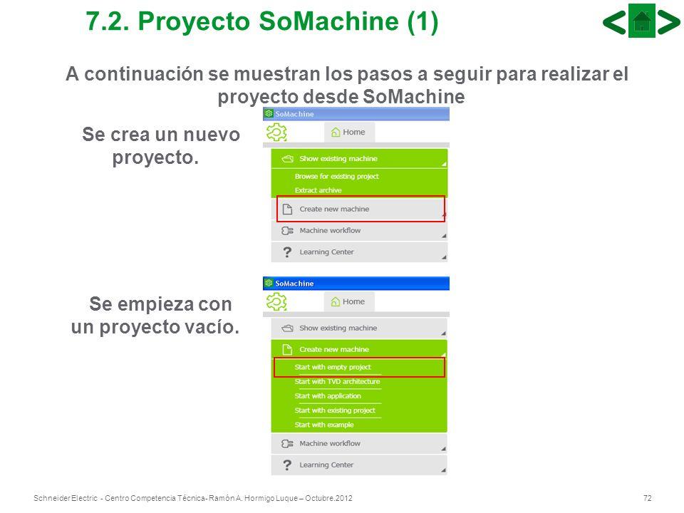 72Schneider Electric - Centro Competencia Técnica- Ramón A. Hormigo Luque – Octubre.2012 A continuación se muestran los pasos a seguir para realizar e