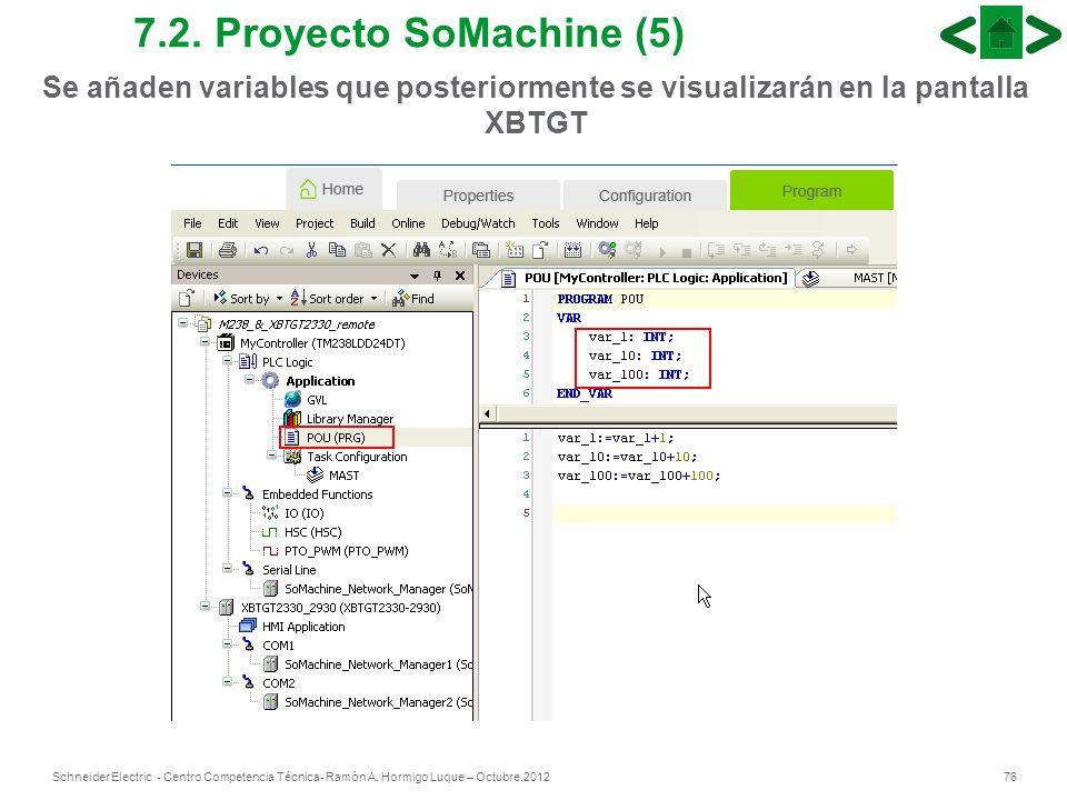 76Schneider Electric - Centro Competencia Técnica- Ramón A. Hormigo Luque – Octubre.2012 7.2. Proyecto SoMachine (5) Se añaden variables que posterior
