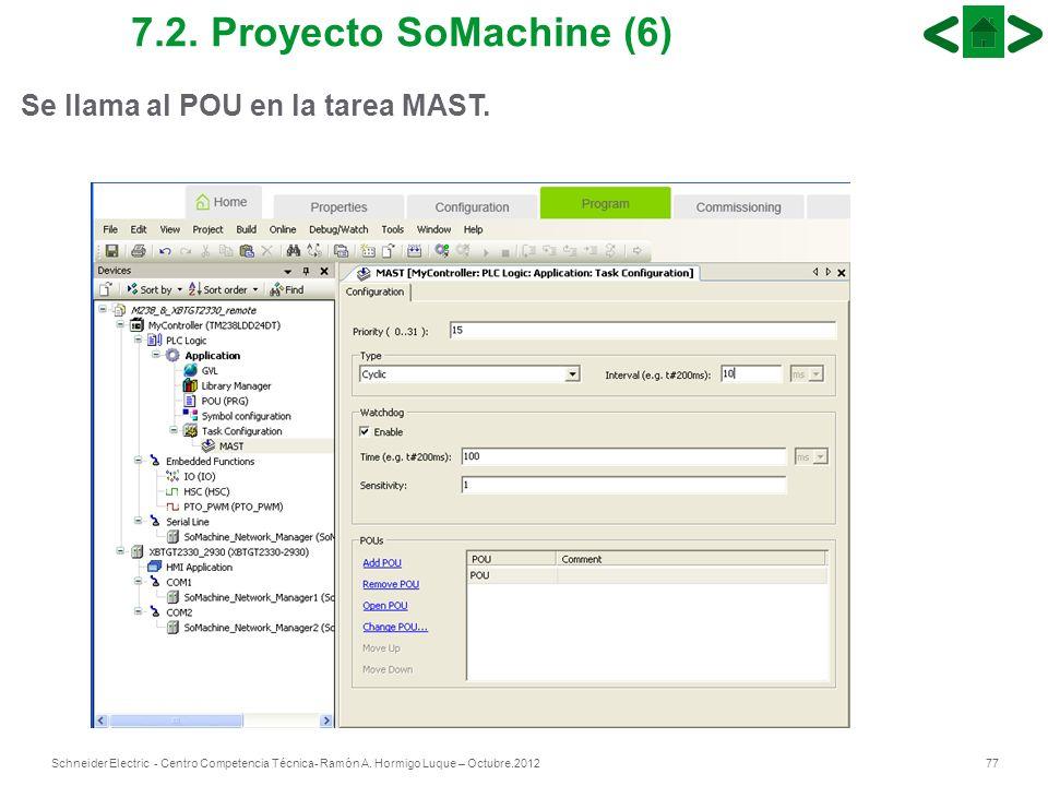 77Schneider Electric - Centro Competencia Técnica- Ramón A. Hormigo Luque – Octubre.2012 7.2. Proyecto SoMachine (6) Se llama al POU en la tarea MAST.