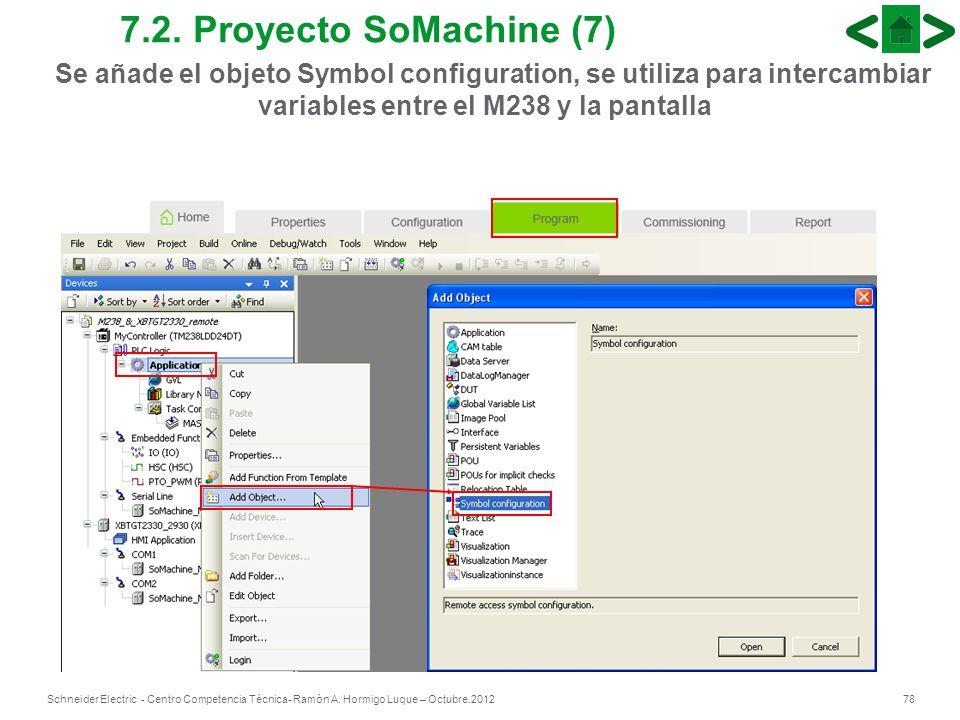 78Schneider Electric - Centro Competencia Técnica- Ramón A. Hormigo Luque – Octubre.2012 7.2. Proyecto SoMachine (7) Se añade el objeto Symbol configu