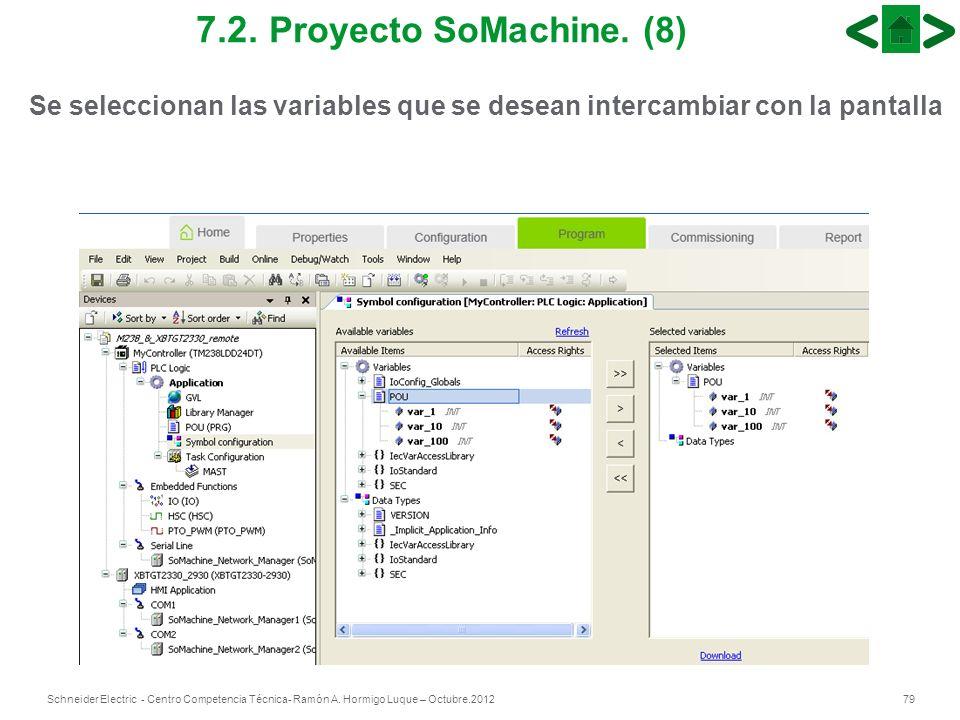 79Schneider Electric - Centro Competencia Técnica- Ramón A. Hormigo Luque – Octubre.2012 7.2. Proyecto SoMachine. (8) Se seleccionan las variables que
