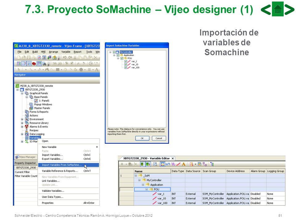 81Schneider Electric - Centro Competencia Técnica- Ramón A. Hormigo Luque – Octubre.2012 7.3. Proyecto SoMachine – Vijeo designer (1) Importación de v