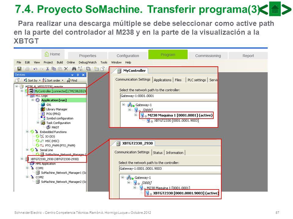 87Schneider Electric - Centro Competencia Técnica- Ramón A. Hormigo Luque – Octubre.2012 7.4. Proyecto SoMachine. Transferir programa(3) Para realizar