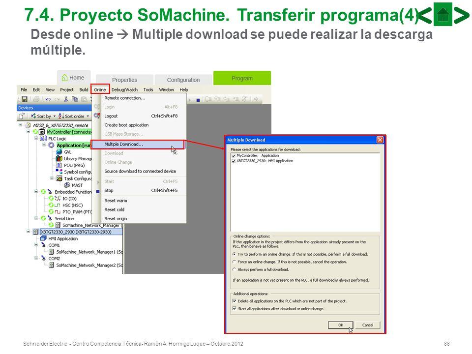88Schneider Electric - Centro Competencia Técnica- Ramón A. Hormigo Luque – Octubre.2012 7.4. Proyecto SoMachine. Transferir programa(4) Desde online