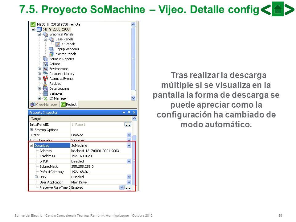 89Schneider Electric - Centro Competencia Técnica- Ramón A. Hormigo Luque – Octubre.2012 7.5. Proyecto SoMachine – Vijeo. Detalle config Tras realizar
