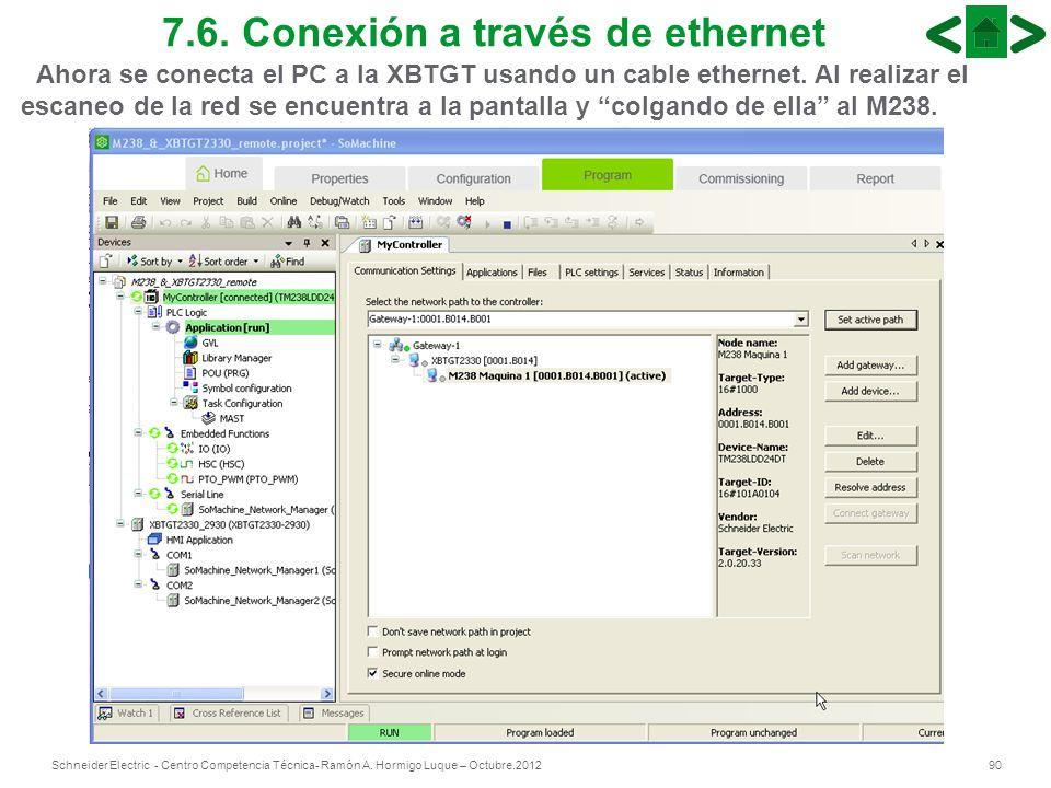 90Schneider Electric - Centro Competencia Técnica- Ramón A. Hormigo Luque – Octubre.2012 7.6. Conexión a través de ethernet Ahora se conecta el PC a l