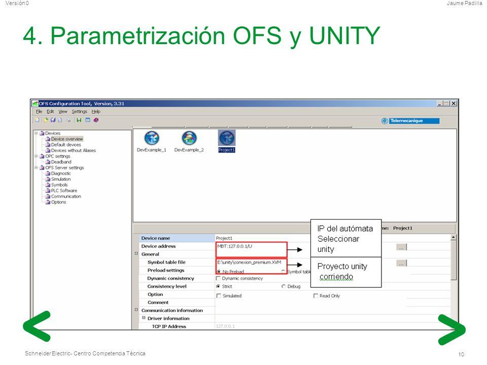 Schneider Electric 10 - Centro Competencia Técnica Jaume PadillaVersión 0 4. Parametrización OFS y UNITY