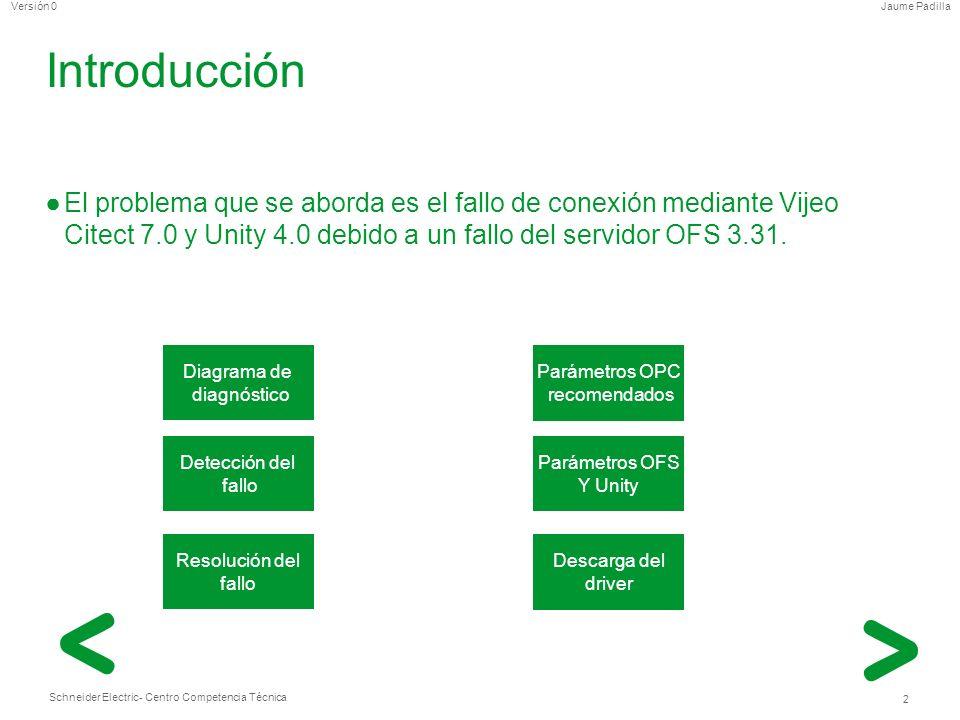 Schneider Electric 2 - Centro Competencia Técnica Jaume PadillaVersión 0 Introducción El problema que se aborda es el fallo de conexión mediante Vijeo