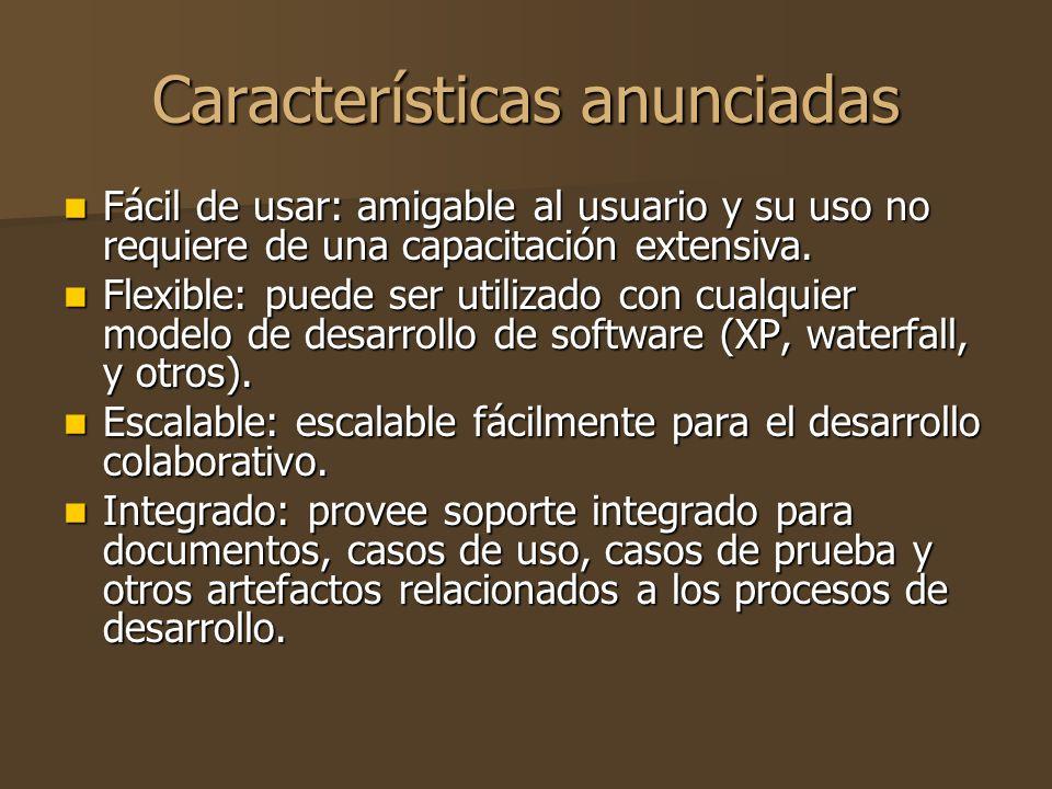 Características anunciadas Fácil de usar: amigable al usuario y su uso no requiere de una capacitación extensiva.