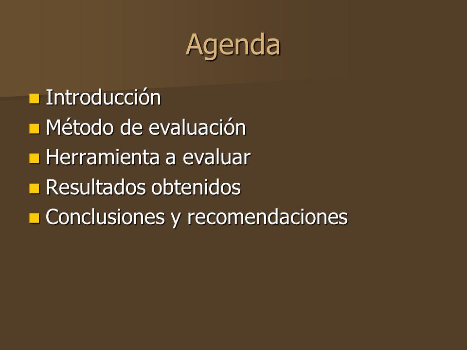 Agenda Introducción Introducción Método de evaluación Método de evaluación Herramienta a evaluar Herramienta a evaluar Resultados obtenidos Resultados obtenidos Conclusiones y recomendaciones Conclusiones y recomendaciones