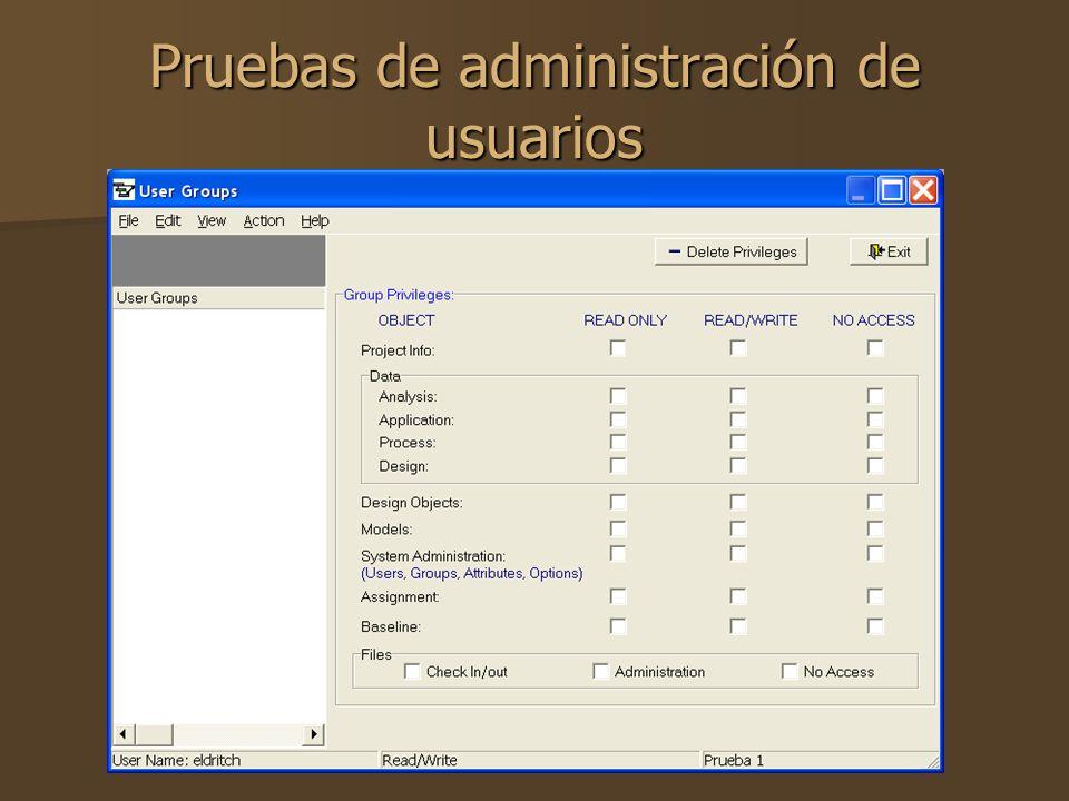 Pruebas de administración de usuarios