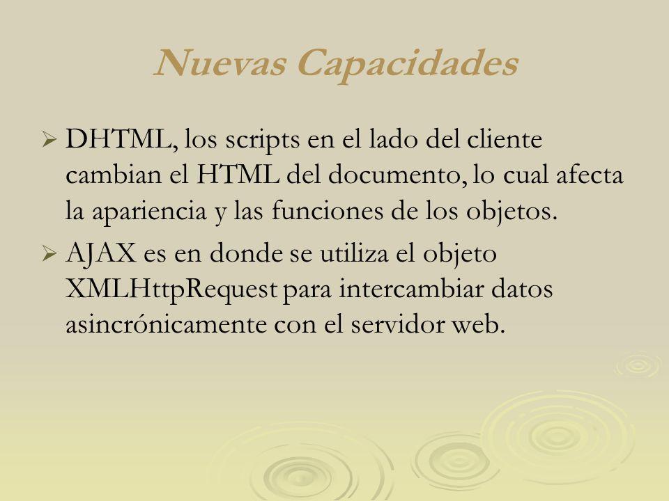 Nuevas Capacidades DHTML, los scripts en el lado del cliente cambian el HTML del documento, lo cual afecta la apariencia y las funciones de los objeto
