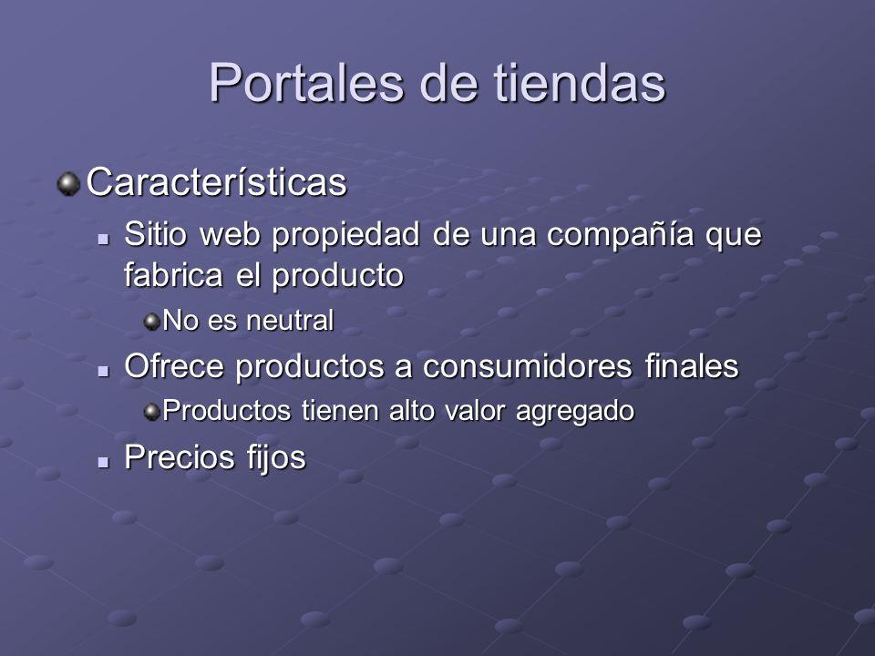 Portales de tiendas Características Sitio web propiedad de una compañía que fabrica el producto Sitio web propiedad de una compañía que fabrica el pro