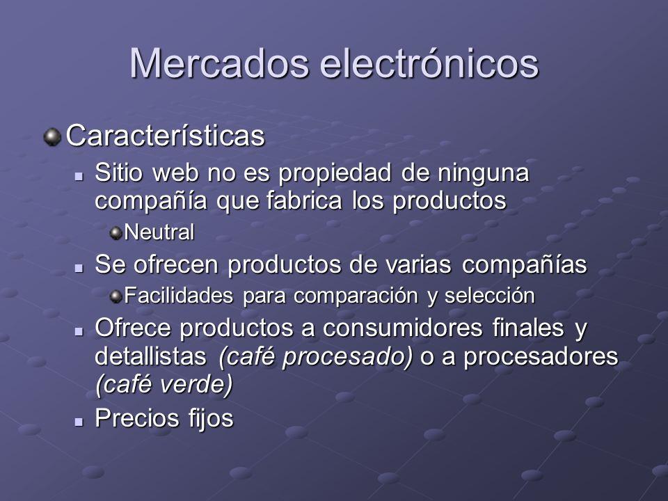 Mercados electrónicos Características Sitio web no es propiedad de ninguna compañía que fabrica los productos Sitio web no es propiedad de ninguna com