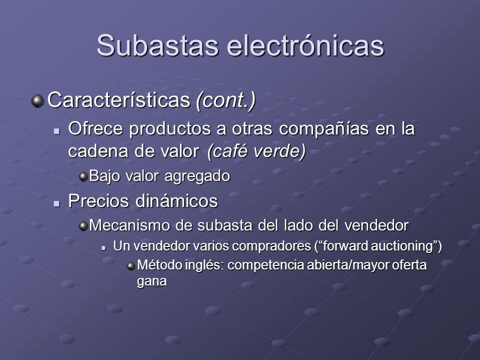 Subastas electrónicas Características (cont.) Ofrece productos a otras compañías en la cadena de valor (café verde) Ofrece productos a otras compañías