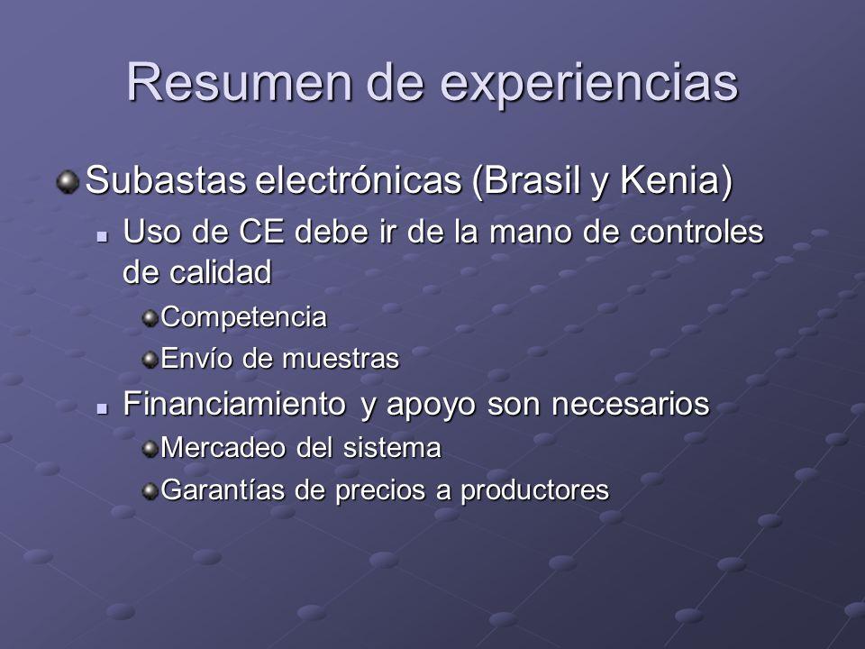 Resumen de experiencias Subastas electrónicas (Brasil y Kenia) Uso de CE debe ir de la mano de controles de calidad Uso de CE debe ir de la mano de co