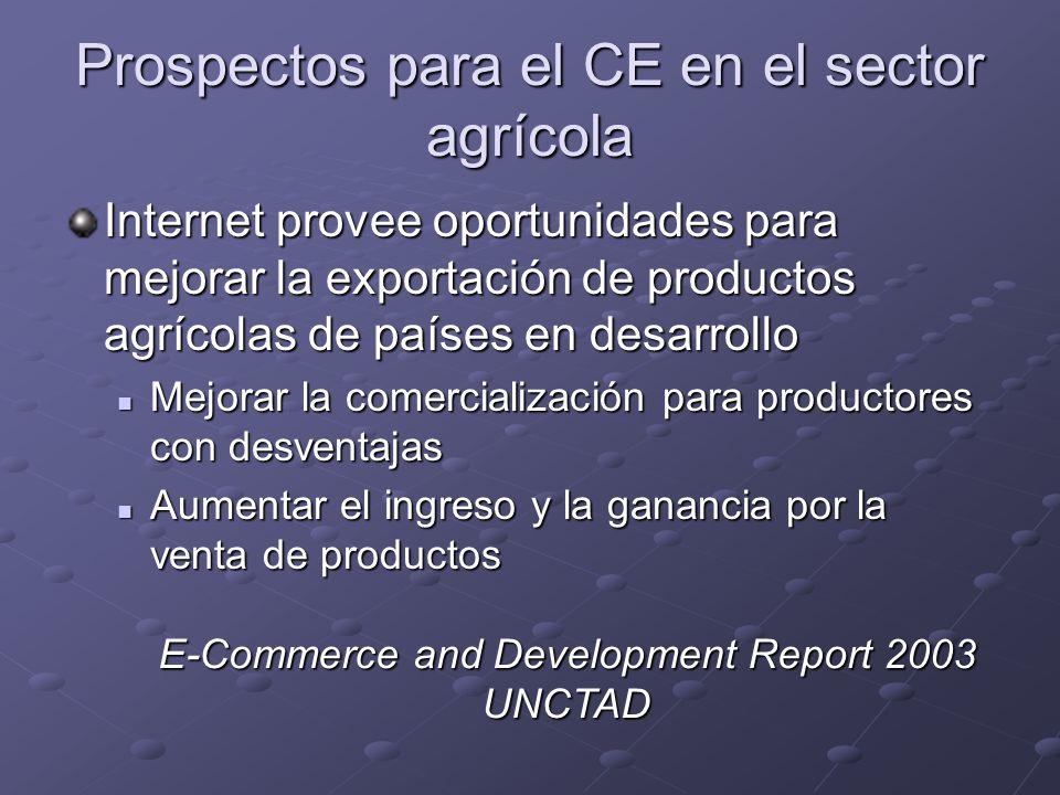 Prospectos para el CE en el sector agrícola Internet provee oportunidades para mejorar la exportación de productos agrícolas de países en desarrollo M