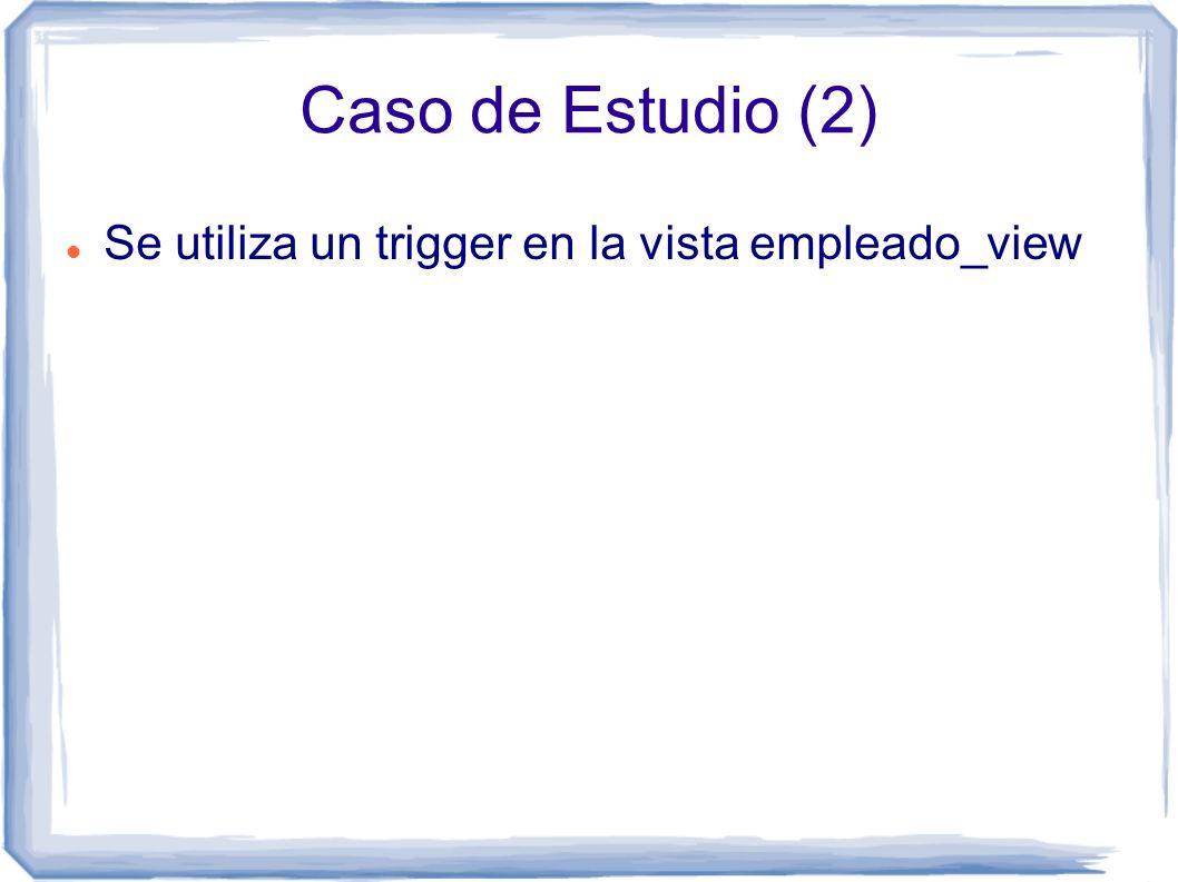 Caso de Estudio (2) Se utiliza un trigger en la vista empleado_view