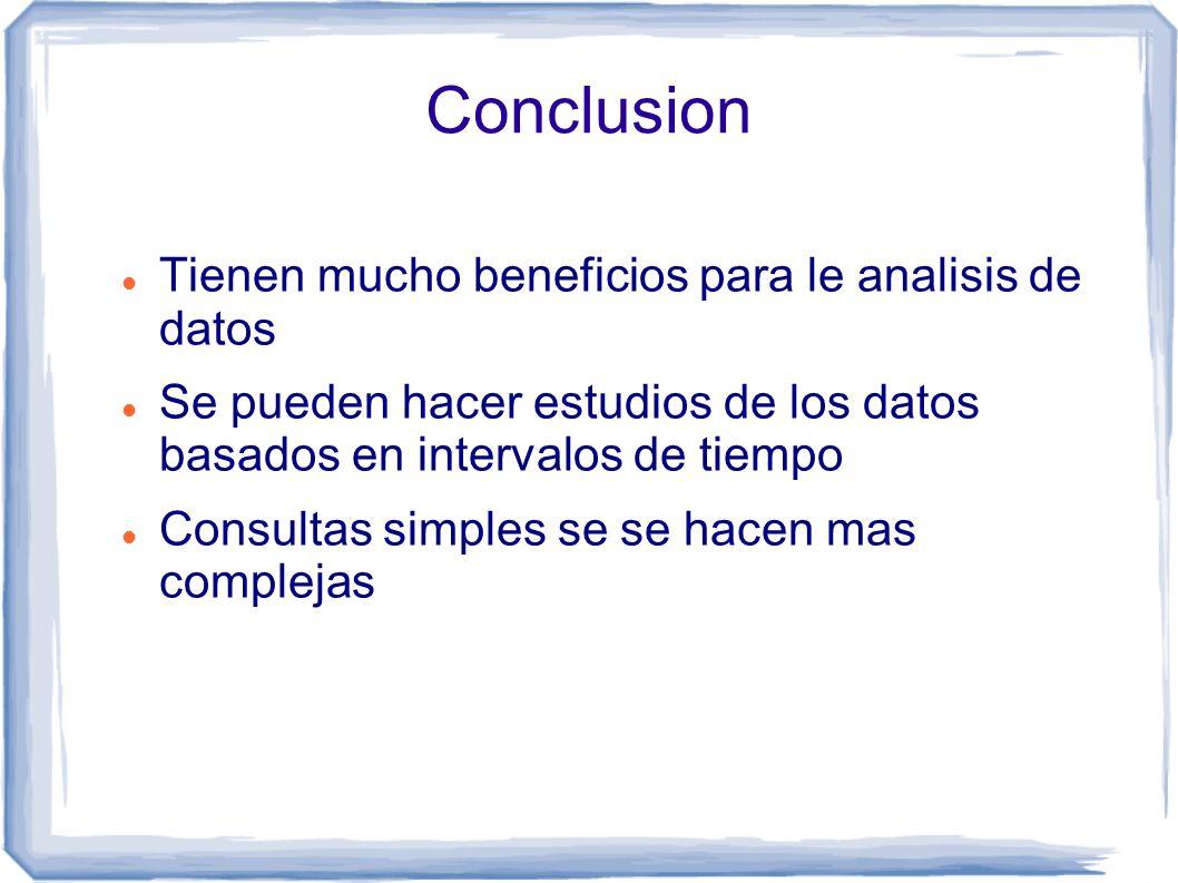 Conclusion Tienen mucho beneficios para le analisis de datos Se pueden hacer estudios de los datos basados en intervalos de tiempo Consultas simples se se hacen mas complejas