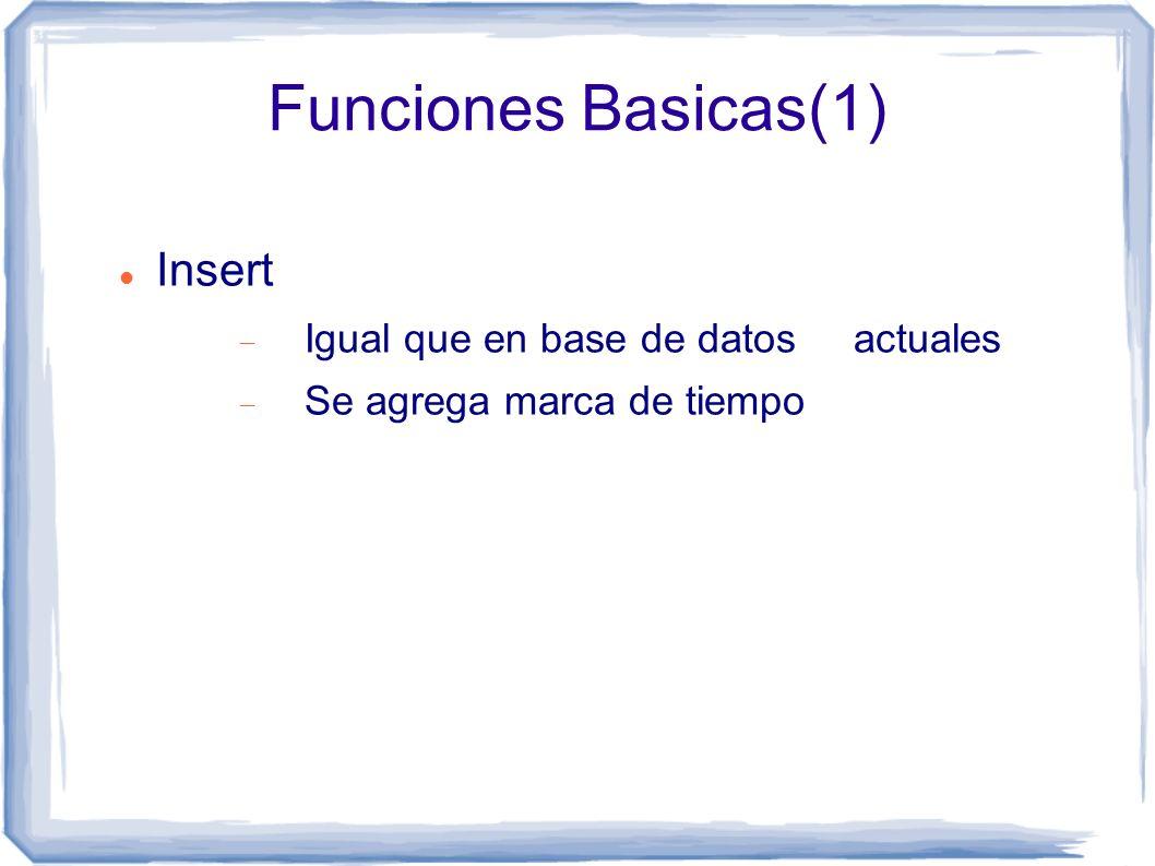 Funciones Basicas(1) Insert Igual que en base de datos actuales Se agrega marca de tiempo