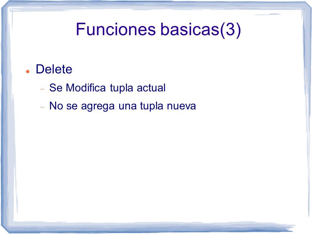 Funciones basicas(3) Delete Se Modifica tupla actual No se agrega una tupla nueva
