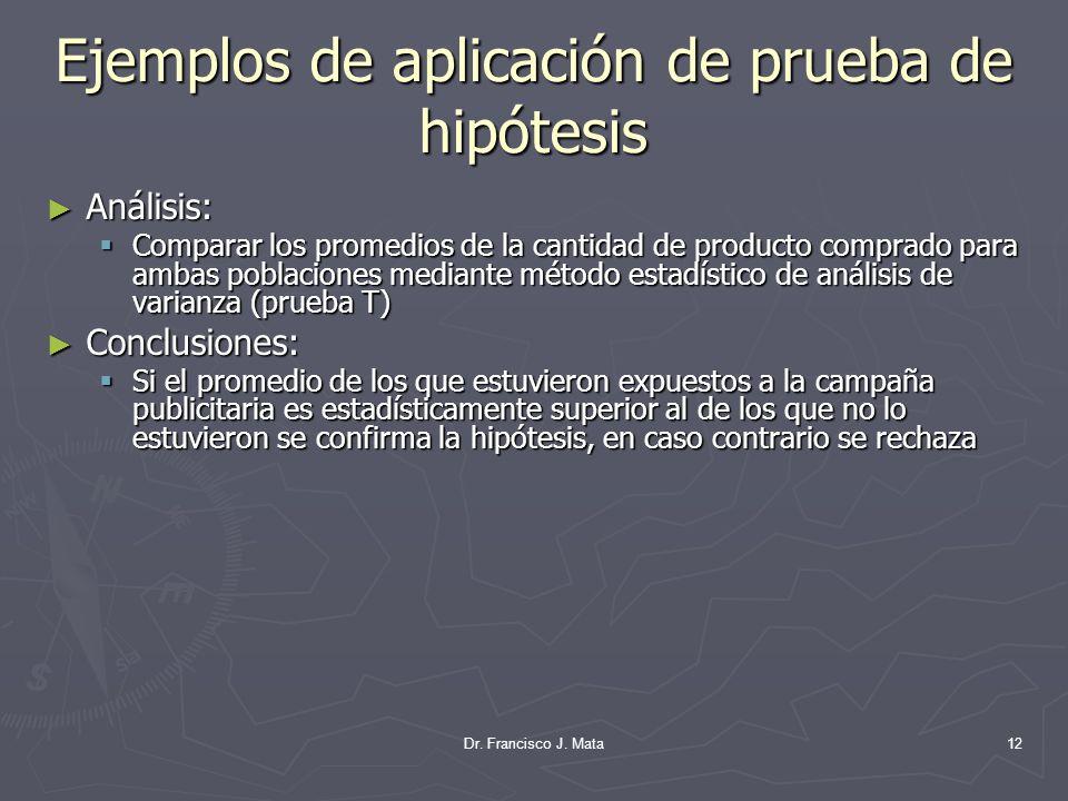Dr. Francisco J. Mata12 Ejemplos de aplicación de prueba de hipótesis Análisis: Análisis: Comparar los promedios de la cantidad de producto comprado p