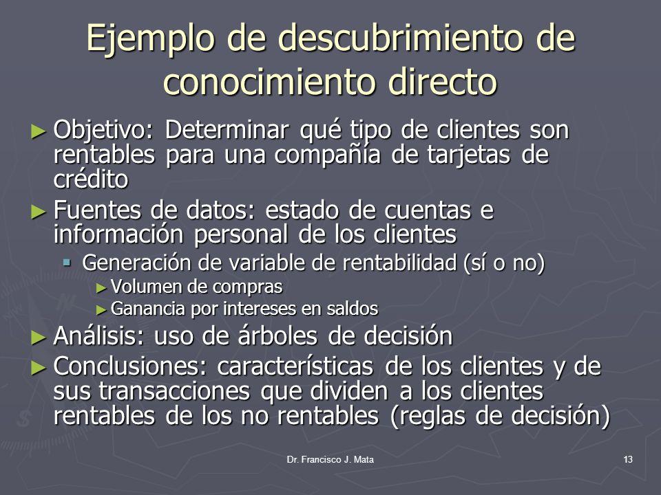 Dr. Francisco J. Mata13 Ejemplo de descubrimiento de conocimiento directo Objetivo: Determinar qué tipo de clientes son rentables para una compañía de