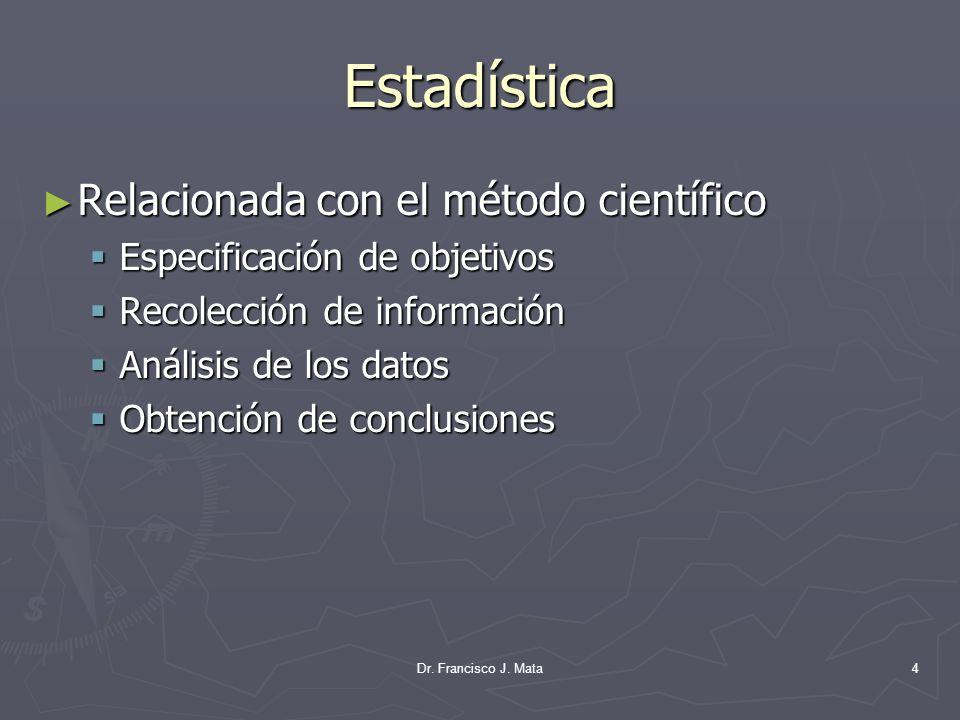 Dr. Francisco J. Mata4 Estadística Relacionada con el método científico Relacionada con el método científico Especificación de objetivos Especificació