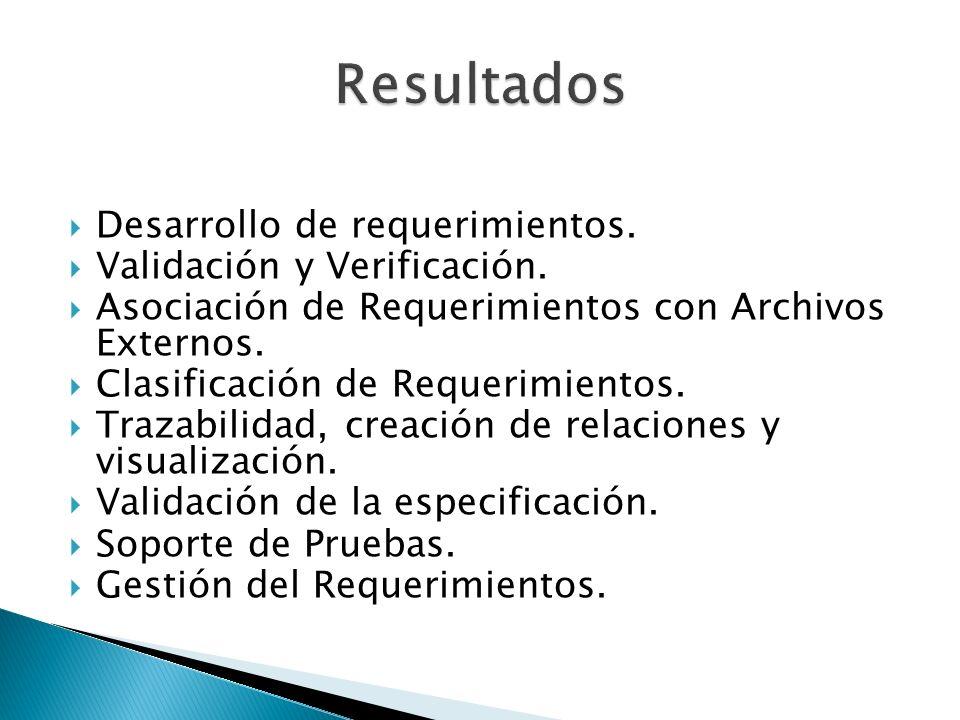 Desarrollo de requerimientos. Validación y Verificación. Asociación de Requerimientos con Archivos Externos. Clasificación de Requerimientos. Trazabil