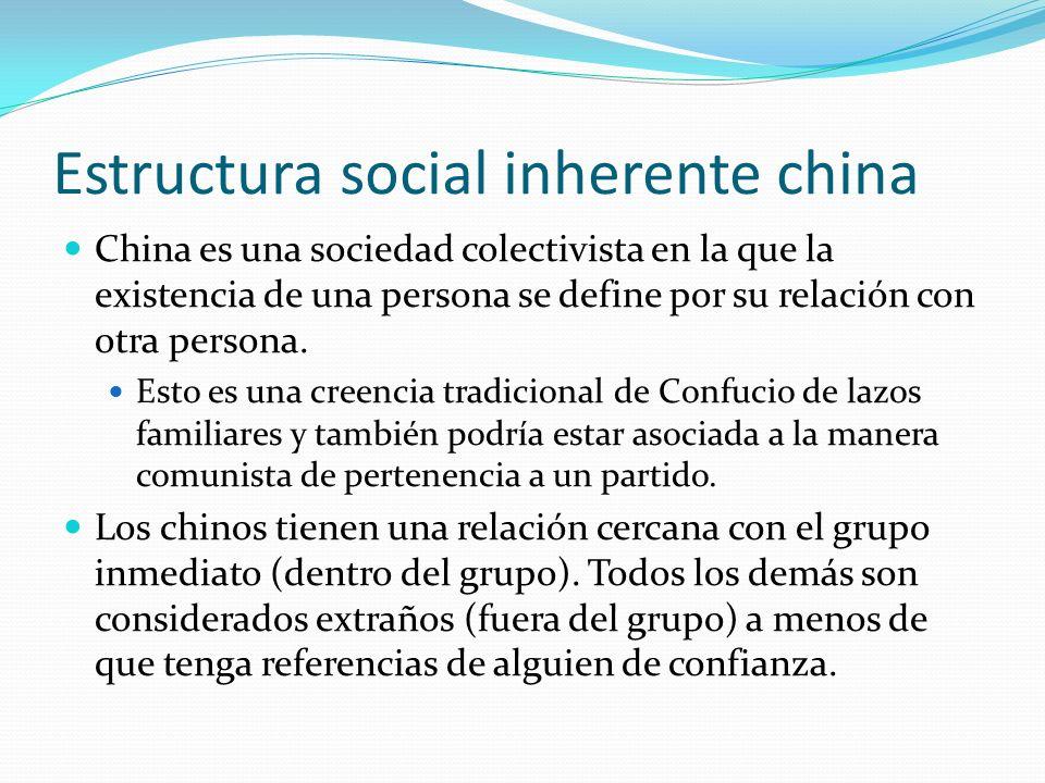 Estructura social inherente china China es una sociedad colectivista en la que la existencia de una persona se define por su relación con otra persona