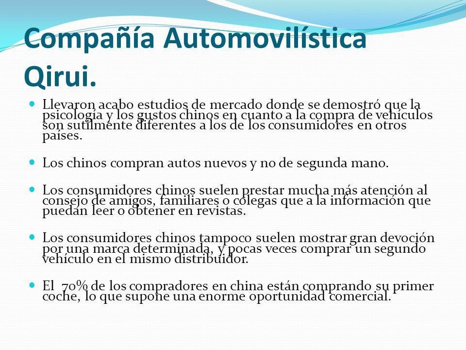 Compañía Automovilística Qirui. Llevaron acabo estudios de mercado donde se demostró que la psicología y los gustos chinos en cuanto a la compra de ve