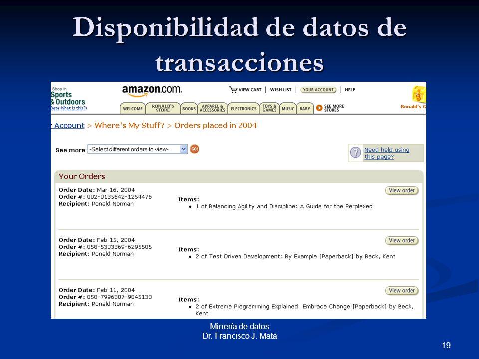 19 Minería de datos Dr. Francisco J. Mata Disponibilidad de datos de transacciones