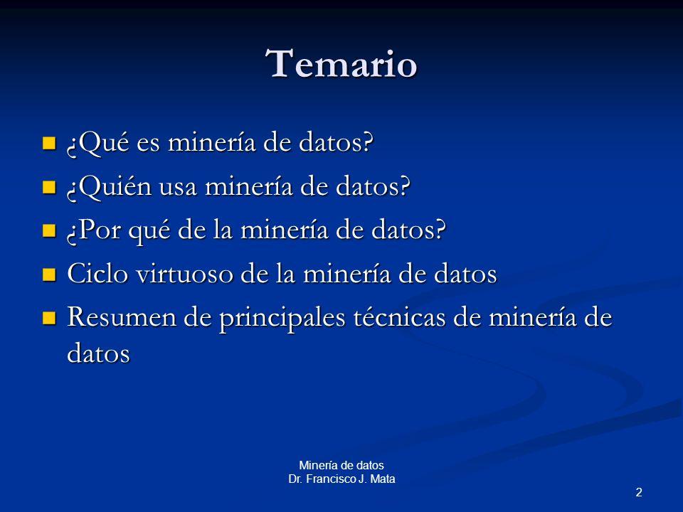 2 Minería de datos Dr. Francisco J. Mata Temario ¿Qué es minería de datos? ¿Qué es minería de datos? ¿Quién usa minería de datos? ¿Quién usa minería d