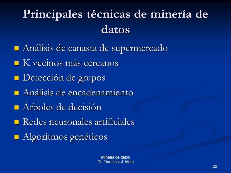 22 Minería de datos Dr. Francisco J. Mata Principales técnicas de minería de datos Análisis de canasta de supermercado Análisis de canasta de supermer