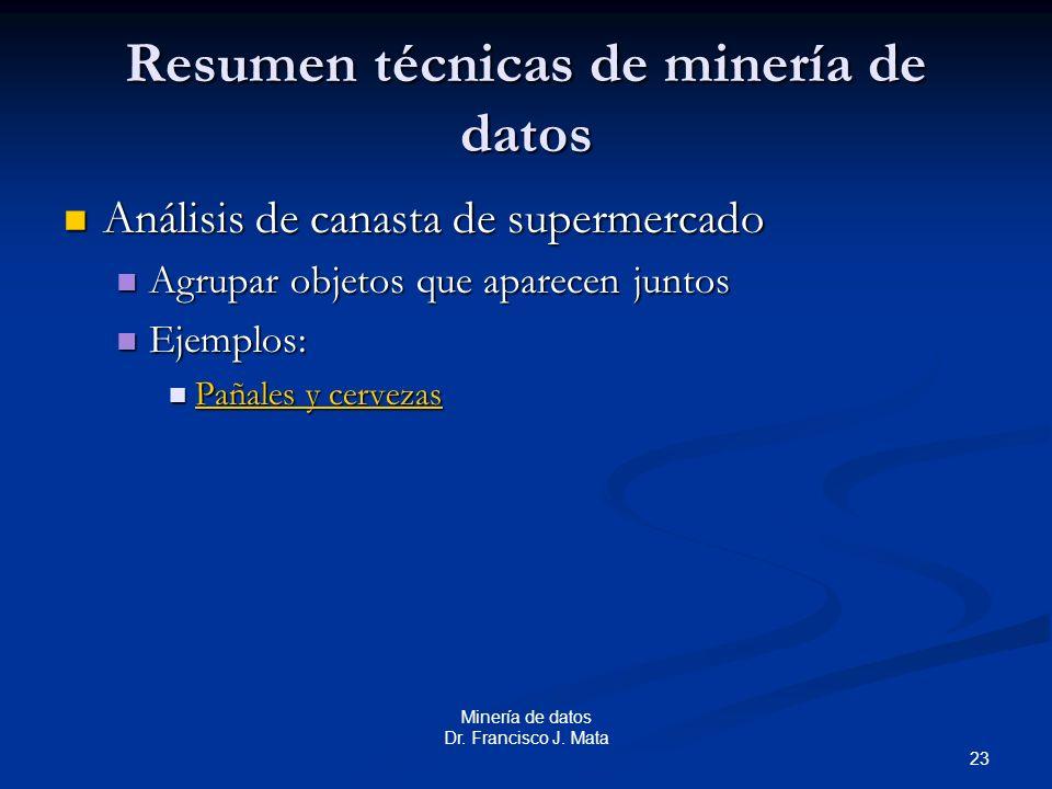 23 Minería de datos Dr. Francisco J. Mata Resumen técnicas de minería de datos Análisis de canasta de supermercado Análisis de canasta de supermercado