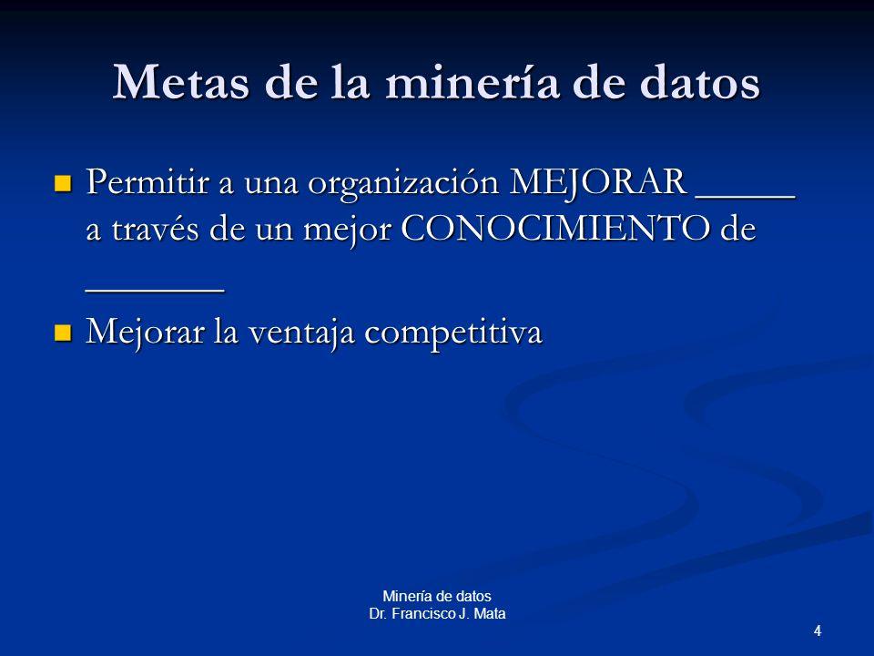 4 Minería de datos Dr. Francisco J. Mata Metas de la minería de datos Permitir a una organización MEJORAR _____ a través de un mejor CONOCIMIENTO de _