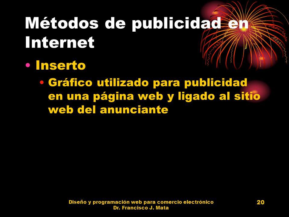Diseño y programación web para comercio electrónico Dr. Francisco J. Mata 20 Métodos de publicidad en Internet Inserto Gráfico utilizado para publicid