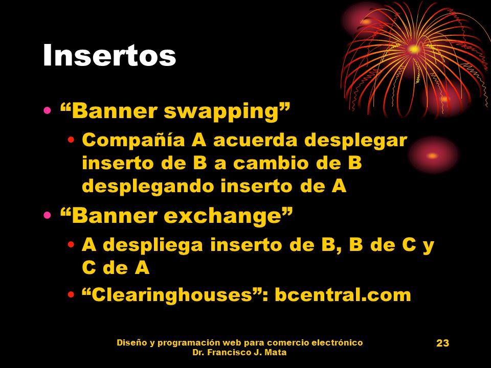 Diseño y programación web para comercio electrónico Dr. Francisco J. Mata 23 Insertos Banner swapping Compañía A acuerda desplegar inserto de B a camb