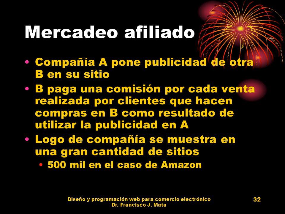 Diseño y programación web para comercio electrónico Dr. Francisco J. Mata 32 Mercadeo afiliado Compañía A pone publicidad de otra B en su sitio B paga