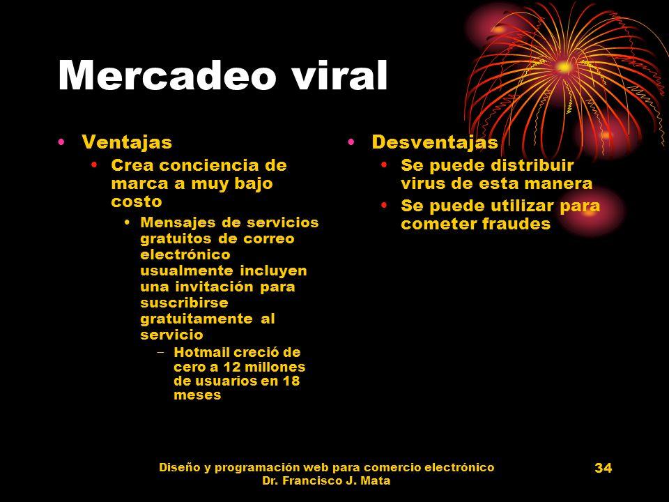 Diseño y programación web para comercio electrónico Dr. Francisco J. Mata 34 Mercadeo viral Ventajas Crea conciencia de marca a muy bajo costo Mensaje