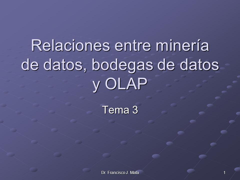 Dr. Francisco J. Mata 1 Relaciones entre minería de datos, bodegas de datos y OLAP Tema 3