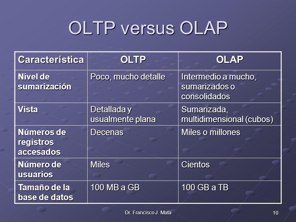 10Dr. Francisco J. Mata OLTP versus OLAP CaracterísticaOLTPOLAP Nivel de sumarización Poco, mucho detalle Intermedio a mucho, sumarizados o consolidad
