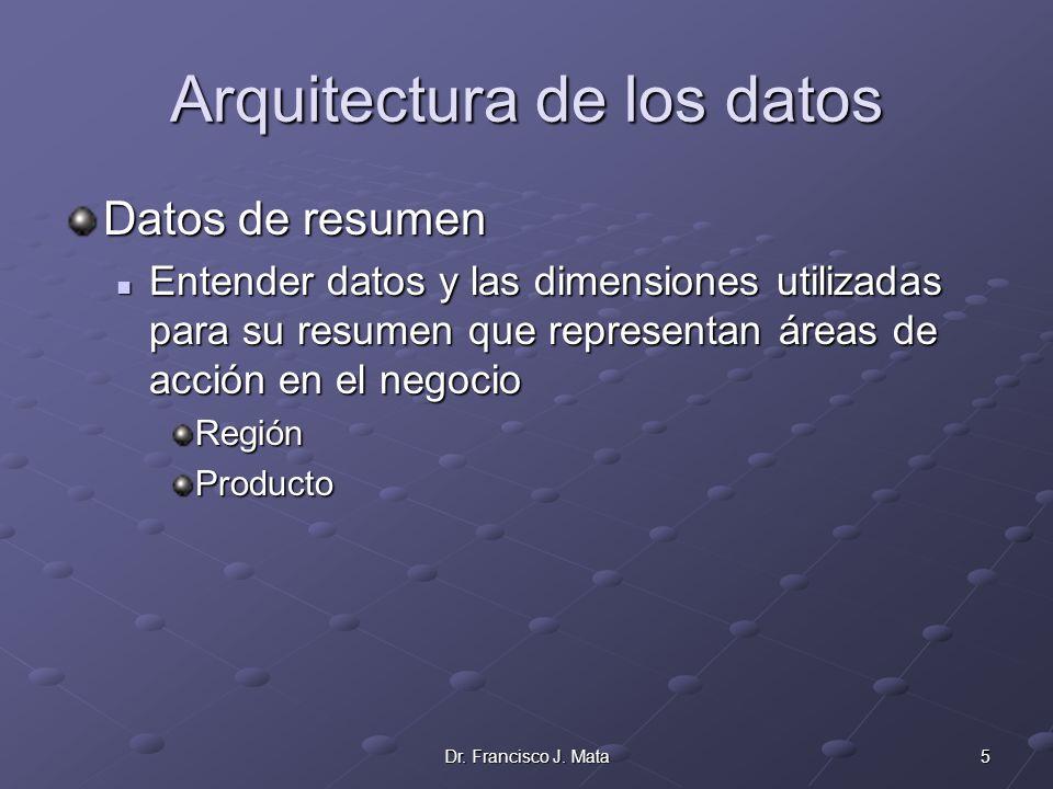5Dr. Francisco J. Mata Arquitectura de los datos Datos de resumen Entender datos y las dimensiones utilizadas para su resumen que representan áreas de