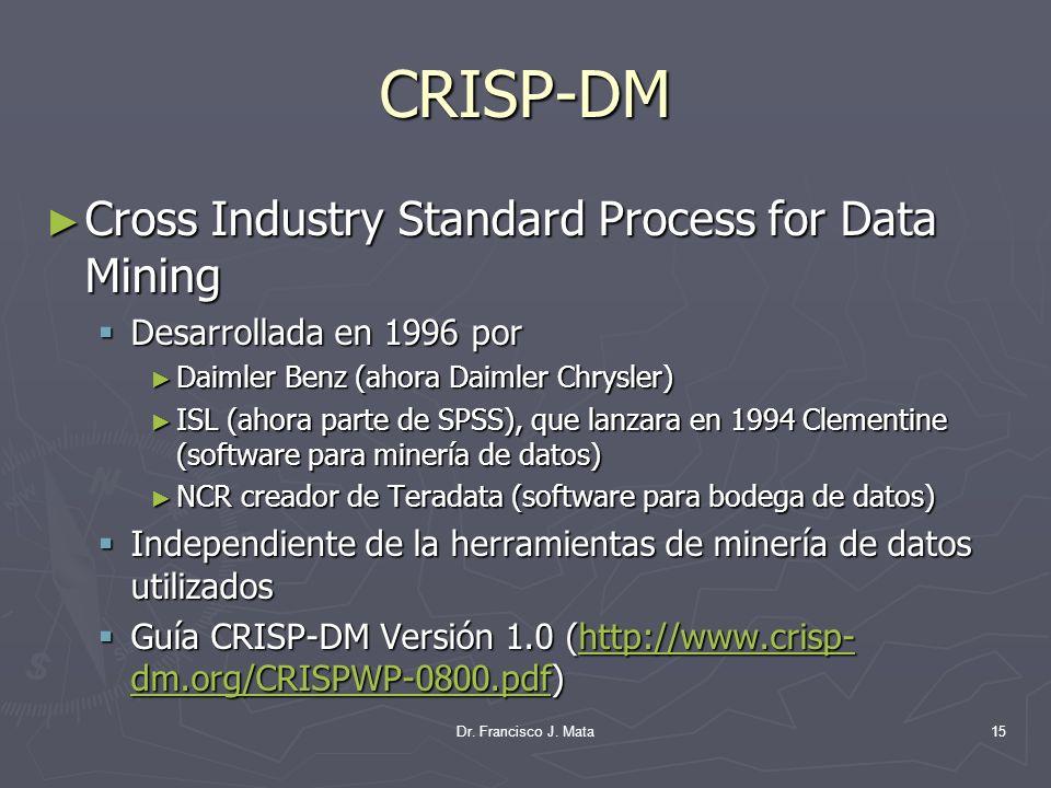 Dr. Francisco J. Mata15 CRISP-DM Cross Industry Standard Process for Data Mining Cross Industry Standard Process for Data Mining Desarrollada en 1996
